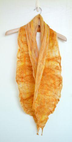 Golden Rays Cobweb Felted Merino Wool and Silk Scarf Shawl by OhmiHandmade
