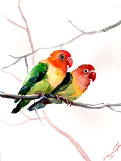 Lovebirds Original watercolor painting 12 X 9 in by ORIGINALONLY, $25.00