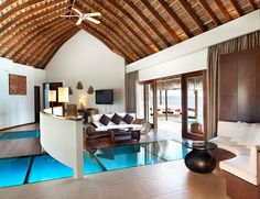 The Exotic W Retreat & Spa Maldives Glass Floor Overwater Bungalow
