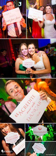 Plaquinhas personalidas de fotos para festa de casamento | Custom photobooth signs for Wedding Reception