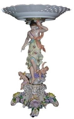 Antique Meissen Style Porcelain Compote, l