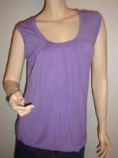 NEW YORK & CO PLEATED PURPLE 1/2 SLEEVE SCOOPNECK SHIRRED CASUAL TOP MEDIUM MED $8.99