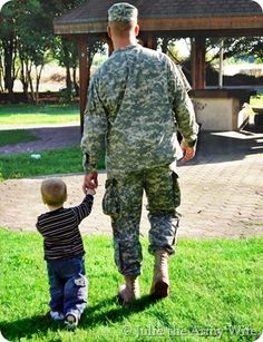 My husband and son right before we had to say goodbye for our first deployment.
