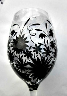 Wine Glass Hand Painted Silhouette Style  20 oz by GlassGaloreGal, $12.00