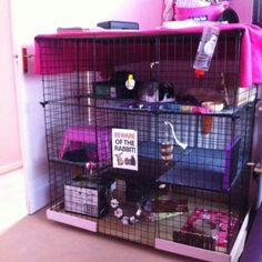 ♥ Pet Rabbit Ideas ♥  Large indoor rabbit hutch ideas.  DIY rabbit cage made from storage cubes.: