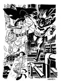 The Bat and the Clown by Chris Samnee. Comic Book Artists, Comic Artist, Comic Books Art, Batman Art, Batman Comics, Joker Tumblr, Body Reference Drawing, Phone Themes, Dc Comics Characters