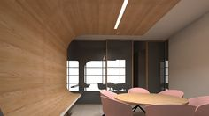 MDKC | 3D Render | Curved Timber Meeting Room