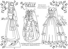 """Emma Watson as Belle from Walt Disney's live action film of """"Beauty & the Beast,"""" paper doll to color, by Cory Jensen"""