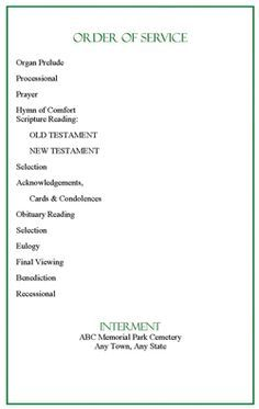Memorial Service Programs Sample  Program From The Funeral