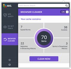 Web TuneUp UI focused on Browser cleaner screen