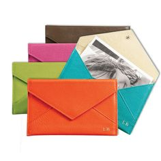 Personalized Bright Leather Envelope - real leather. perfect for photos, coupons, receipts.