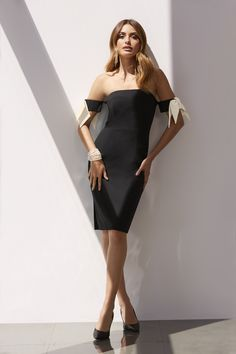 Trending Fashion | Women's Black and Ivory Bow Sleeve Strapless Dress by Boston Proper.