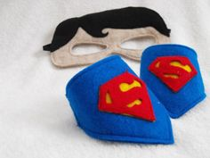 Superman felt mask and cuffs by CapesNCrowns on Etsy, $12.00
