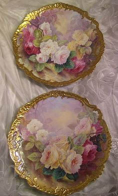 Stunning Pair Antique Hand Painted Limoges Wall Plaques Chargers ~ Museum Quality Masterpiece Still Life Paintings Of Rose Paintings on Porcelain With Elegant Gilded Rococo Border, Artist Signed Bronssillon - French c. 1920 by graciela painting Antique Dishes, Antique Plates, Vintage Plates, Vintage Dishes, Antique China, Vintage China, Vintage Floral, Decoupage, Limoges China