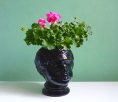 Huge head planter / vase // Riesiger Vintage Pflanzkopf Übertopf Kopf Figur von ILoveSparrows auf DaWanda.com