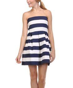 Black & White Stripe Sleeveless Fit and Flare Dress
