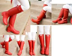 Red Boots, Rain Wear, Shoes, Fashion, Cavalier Boots, Italy, Moda, Zapatos, Rains Clothing