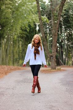 leopard scarf whiskey boots