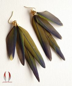 OOAK - Feather earrings, Conure parrot feathers, Mustard Yellow, Hint of Blue and Green, Dangle earrings - Muted on Etsy, $28.00