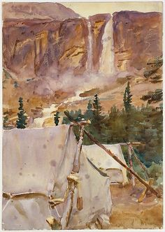 Camp and Waterfall, 1916. Watercolor and graphite on white wove paper. John Singer Sargent