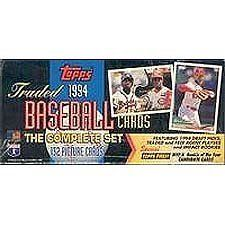 """1994 Topps Traded Factory Sealed Baseball Card Set by Topps. $24.99. This is the factory sealed 1994 Topps Traded Set which contains the Rookie cards of Jason Schmidt, Terrence Long, Ben Grieve, Chan Ho Park and Paul Konerko plus others. Also includes stars like Rickey Henderson, Ryne Sandberg and 8 Bonus Finest Insert Cards! These were only available in the """"Flat box"""" format as shown in the scan as the usual Traded Set box wasn't used this year."""