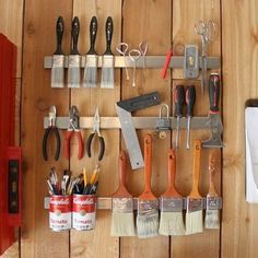 Stencil and Paint Supplies Organization Ideas Magnetic Storage- good for garage, shed, home, kitchen, etc! Shed Organization, Shed Storage, Storage Hacks, Tool Storage, Garage Storage, Storage Ideas, Organizing Tools, Storage Solutions, Diy Storage