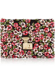 VALENTINO Flower-appliqu¨¦d raffia clutch - flowers made of leather ...