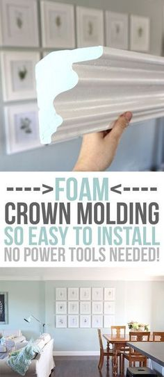 FOAM crown molding is easier to install than traditional molding but once it's up it looks the same! No power tools required it is installed with glue. Pre-made corners available too! DIY home upgrades for the beginning remodeler. - April 14 2019 at Cheap Crown Molding, Foam Crown Molding, Diy Molding, Crown Moldings, Wood Molding, Molding Ideas, Home Upgrades, Home Remodeling Diy, Home Renovation