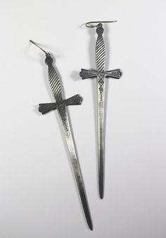 2 of swords. tarot earrings.
