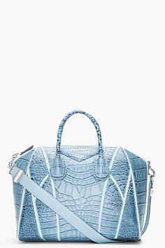 GIVENCHY Medium Blue Croc-Embossed Leather Antigona Duffle Bag