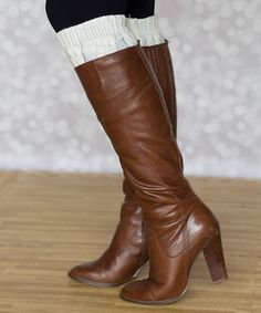 952eac894 This Cream Cable-Knit Leg Warmers is perfect!  zulilyfinds Knit Leg Warmers
