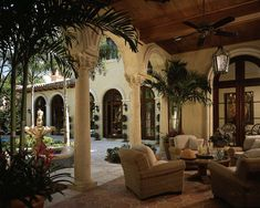 High-end Interior Design Firm, Decorators Unlimited, Palm Beach, Caribbean Spanish Style Homes, Spanish House, Spanish Pool, Spanish Courtyard, Spanish Colonial, British Colonial, House Plans, Spanish Villas, Traditional Interior