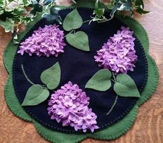 "Cath's Pennies Designs ""Lilac Beauty"" Wool Applique Penny Rug Candle Mat Pattern"