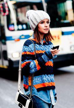 Miroslava Mikheeva-Duma in a Tommy Hilfiger sweater #NYFW