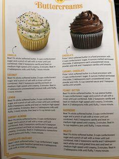 Butter creams Buttercream Recipe, Icing Recipe, Frosting Recipes, Cupcake Recipes, Baking Recipes, Cupcake Cakes, Dessert Recipes, Baking Tips, Sweet Desserts