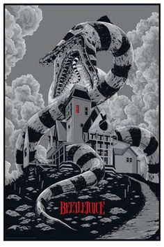 'Beetlejuice' 1988 The first Tim Burton movie I saw and fell in love with. More of a Comedy horror, but it did creep me out when I was younger. (Movie Poster by Ken Taylor) Art Tim Burton, Tim Burton Kunst, Film Tim Burton, Burton Burton, Tim Burton House, A4 Poster, Kunst Poster, Movie Poster Art, Horror Movie Posters