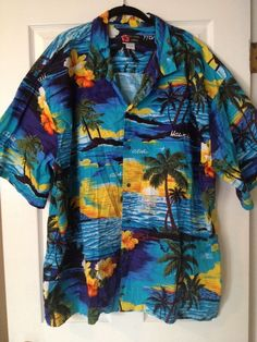 Mens Ali'i Fashions Hawaii XXXXL 4XL Blue Hawaiian  S/S Shirt Palm Trees Sunset #AliiFashionsHawaii #ButtonFront