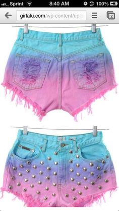High-waisted stud/multicolored DIY shorts
