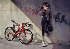 Anime 2048x1448 anime anime girls bicycle brunette glasses long hair blue eyes bodysuit