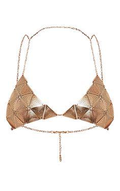 Benia Gold Triangle Chain Bra Image 3