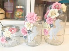 Ideas Party Decorations For Adults Centerpieces Paper Flowers Flower Jars, Flowers In Jars, Paper Flowers, Unicorn Themed Birthday Party, Unicorn Party, Birthday Party Decorations, Mason Jar Crafts, Bottle Crafts, Mason Jars