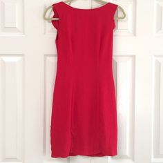 B Darlin Sexy Red Dress Dresses fitted and made from 100% polyester.  Dress zips up the back and is fully lined. It is a deep V shaped back with a very frilly ruffle on both shoulders.  It has been cleaned and worn and has no stains no rips.  Size is listed as 1/2 on label. Dresses Mini