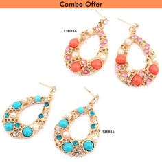 Now Get Combo of Bohemia Water Blue and Orange Fashion Earrings At Just Rs.499.00 From TrendyMela. ✓free shipping ✓COD