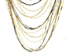 Two Tone Chain Linked Necklace and Earrings with Faux Pearl - Adjustable from 24'' to 26'' Length Necklaces - Fashion Jewelry. $67.50. Adjustable from 24'' to 26'' Length. Necklace and Earrings Set. Two Tone Chain. Faux Pearls