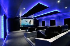 Pool House Cinema: Indoor pool was covered with concrete slab and then converted to a knockout home theater with color-changing LEDs Home Theater Lighting, Home Theater Room Design, Movie Theater Rooms, Home Cinema Room, Home Theater Decor, Best Home Theater, Home Theater Seating, Home Theater Speakers, Luxury Houses