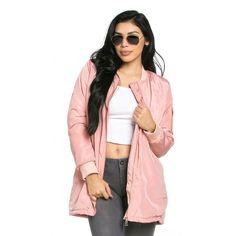 Classic Longline Bomber Jacket in Pink ($49) ❤ liked on Polyvore featuring outerwear, jackets, zip jacket, flight jacket, zipper jacket, bomber jacket and zip pocket jacket