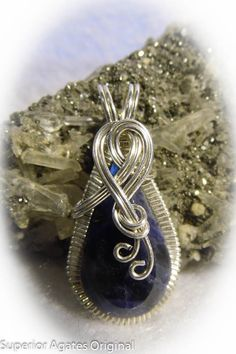 Navy Blue Sodalite Wire Wrapped Pendant by superioragates on Etsy, $35.00