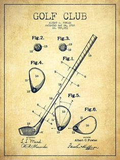 Golf Club Patent Drawing From 1910 - Vintage Drawing