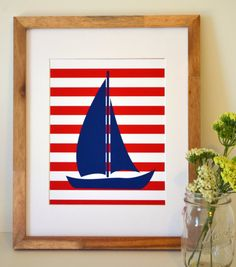 Nautical nursery 11 x 14 wall art- Baby boy room- Sailboat print- Teen boy room- all colors available- baby shower gift