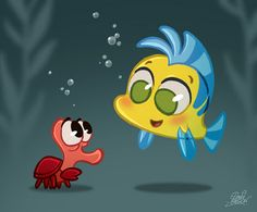 chibi Sebastian and Flounder by David Gilson